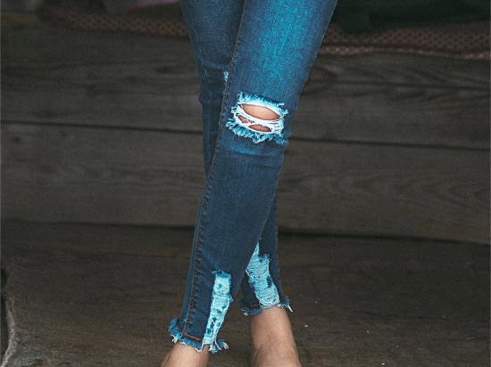 727F patched cropped jeans